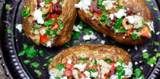 Фаршированный печёный картофель с оливковым маслом