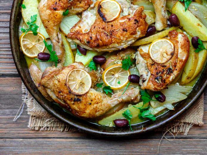 Курица с картофелем и оливковым маслом