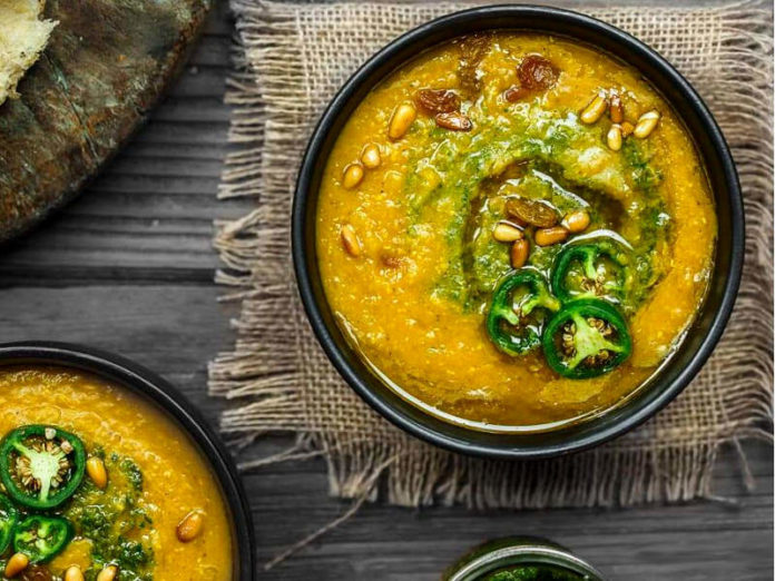 тыквенный суп с оливковым маслом