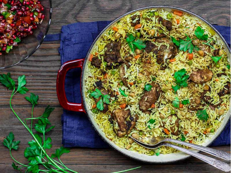 Курица и рис с оливковым маслом