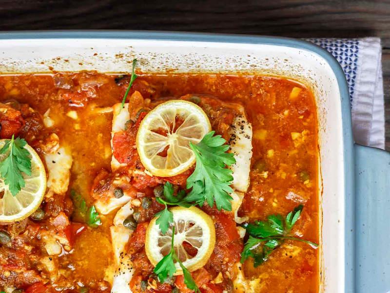 запечённая рыба с оливковым маслом